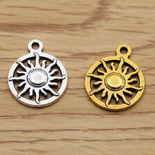 Retro Style Tibet Silver Bright Gold Sun Jewelry Findings Charm Pendants 16X20MM