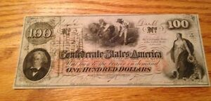 1862 $100 Confederate currency T-41