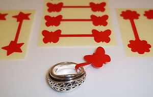Red Butterfly / Star / Flower Jewellery Price Stickers, Tags, Labels, Dumbells