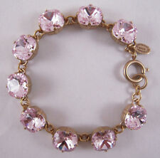 Catherine Popesco 14k Gold Plated Large Petal Swarovski Crystals Bracelet
