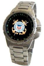 """U.S. Coast Guard"" Emblem S. Steel Sport Watch Has Elapsed Time Turning Bezel"