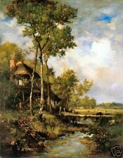 Old Masters Print, The Old Windmill Near Barbizon by Diaz de la Pena