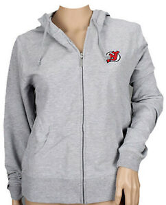 Reebok NHL Women's New Jersey Devils Team Zip Up Hoodie, Gray
