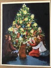 FINE Tasha Tudor Vintage Irene Dash Co Christmas Refurbished Card Kids Tree