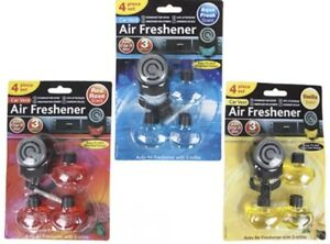 Fan Car Air Freshener 4pc Set 3 Bottles Car Caravan Vehicle Vent Clip On - UK