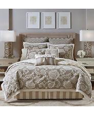 NEW Croscill Anessa 4 Piece Jacquard QUEEN Comforter Set LATTE Bedding $420 D124