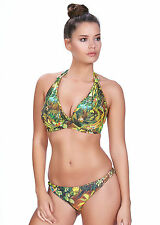 FREYA WILDERNESS TROPIC UNDERWIRE PADDED HALTER BIKINI TOP & RIO BRIEF 30E/8E