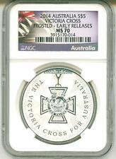 2014 S$5 Australia Victoria Cross Frosted Early Release NGC MS70