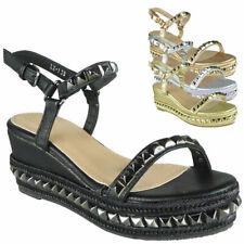Womens Wedge Sandals Ladies Ankle Strap Peeptoe Platform Comfy Bling Shoe Size