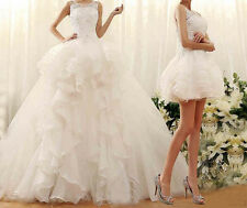 White Detachable Skirt Two Piece Wedding Dresses Organza Sweep/Brush Bridal gown