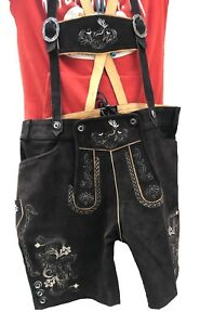 Mens Bavarian Short LEDERHOSEN Cowhide Brown Leather with Matching Suspenders