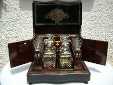 Antique Decanter Tantalus Boulle Liquor Cabinet