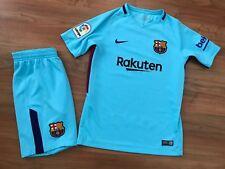 Boys BLUE NIKE FC BARCELONA AWAY Shirt Shorts Kit (age10-12) *NICE COND*