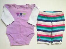 Girl's Size Nb Newborn Two Piece Carter's Purple Daddy Love's Me Top & Leggings