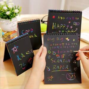 Kids Children Rainbow Paper Scratch Art Graffiti Books Drawing Doodle Pad Toys