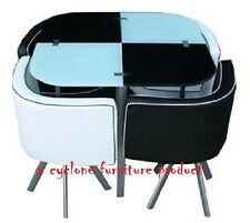 New space saver black & white square Glass Dining Table + 4 Chairs Set
