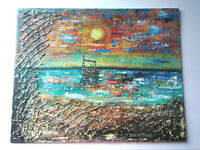 Original Acrylic Seascape Sunset Boats Beach Nautical ,Coastal16x20 Canvas Panel