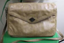 "Rachel Zoe Laptop Bag Camel Vegan Faux Patent Beige 16"" Tablet Messenger (p500)"