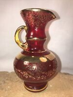 "Vintage 5"" Ruby Red Glass Pitcher/Vase with Gold Gilt Floral & Trim"