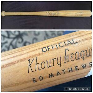 RARE ED MATHEWS Rawlings KL2 Official Khoury League Wooden Bat 0 MADE in USA