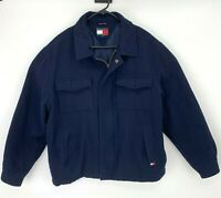 Vintage Tommy Hilfiger Wool Blend Jacket Size L Dark Blue Full Zip Snap Button