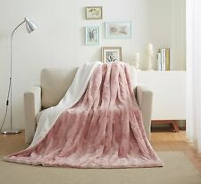 Tache Blush Super Soft Warm Faux Fur Dusty Rose Pink Sherpa Throw Bed Blanket