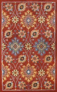 Floral Transitional Assorted Oriental RED Area Rug Hand-tufted Foyer Carpet 5x8