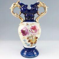 Victoria Carlsbad Hand Painted Porcelain Handled Vase Flowers Leaves Austria Atq
