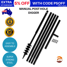 Ground Drill 80mm Steel Hand Manual Post Hole Digger 4 Extension Tube