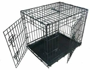 Dog Puppy Pet Metal Cage Large 36 inch Black Folding 2 Door Crate with Non-Chew