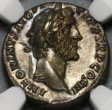 140 NGC Ch AU Antoninus Pius Roman Empire Denarius Annona Modius 5/5 (20091703C)