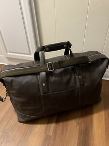 Coach Men's Leather Removable Strap Dark Brown Duffle Bag