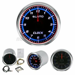 """52mm 2"""" Clock Meter Gauge Car Boat Universal 12-hours Format Red&Blue Backlight"""