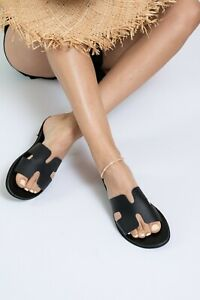 Ancient Greek style black flat real leather h slide sandals handmade summer