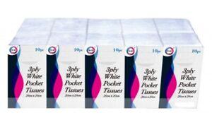 3ply white pocket tissues - 20cm x 20cm - ( Various Pack Sizes )