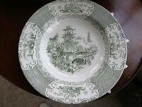 1971) Vintage Soup / Salad Bowl Green Oriental Pattern Liberatas Prussia Staging