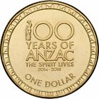 2016 100 Years ANZAC One $1 Dollar UNCIRCULATED Coin EX MINT BAG SCARCE in 2x2