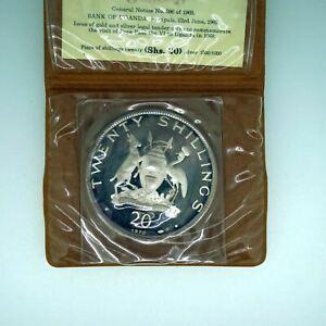 1969 Uganda Proof Silver 20 Shillings in Wallet w/ COA - Free Shipping USA