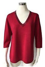 Damen V Pullover 100%Seide Gr.50 52 Fb.rot 3/4 Arm Übergröße,Räumungsverkauf