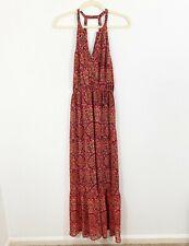 Lucky Brand Long Maxi Halter Dress Size Small Sleeveless Lace Boho Peasant Pink