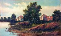 LANDSCAPE AND MILLS. OIL ON CANVAS.   F (FRANCISCO?) BLASCO. SPAIN. CIRCA 1850