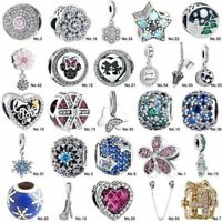 S925 European Sterling CZ Silver Charm Beads Pendant For Bracelet Chain bangle