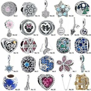 European S925 Silver CZ Fine Charms Bead Pendant For Bracelet Chain bangle Gifts