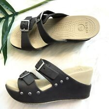 Crocs Wedges Size 6 Brown Tan Rubber Sole Cute Comfort Summer Shoes Sandals