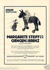 Margarete Steiff XL Reklame von 1926 Affe Ente Esel Knopf im Ohr Werbung Bär +