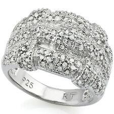 LOVELY 1.05 CTW GENUINE DIAMOND 18K WHITE GOLD OVER 925 STERLING SILVER RING