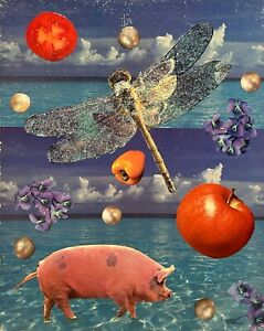 PETERS 1927-2019 NEW YORK CITY SURREAL OUTSIDER NATURE FIGURE STUDY COLLAGE 1990