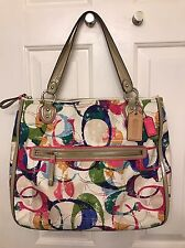 COACH Multi Color C HALLE HIPPIE Purse Shoulder Bag Tote 31141E EUC