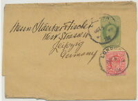 "GB POSTAL STATIONERY PERFINS 1905 King EVII ½D yellowgreen wrapper PERFIN ""C&S"
