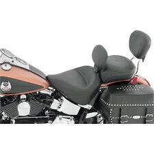 Mustang Seat Wide Black Vintage Solo Seat w/ Backrest Harley 08-15 FLSTC FLSTS